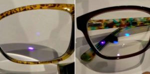 Image shows BluTech lens on left with blue light hitting front of lens with faint light in the middle showing filtered result. Image shows Crizal Prevencia lens on right with blue light hitting front of lens and reflecting on left, filtering on right